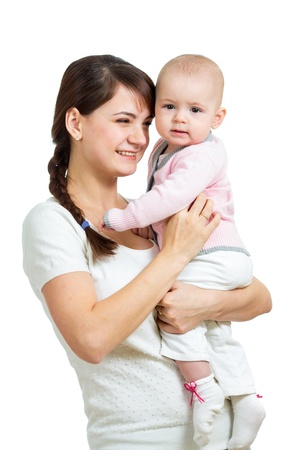 Happy mother holding her baby girl isolated Stock Photo - 17455483