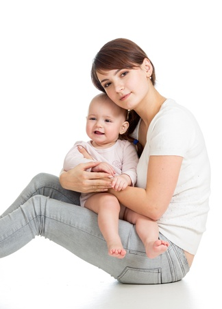 Loving mother with her baby girl on white background Stock Photo - 17455486
