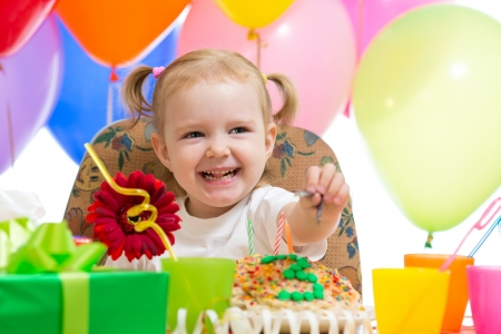 kids party: happy child girl on birthday party