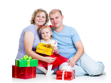 happy family with gifts isolated on white background Stock Photo - 17499576