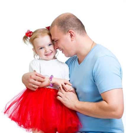 happy father embracing child girl isolated on white Stock Photo - 17499547