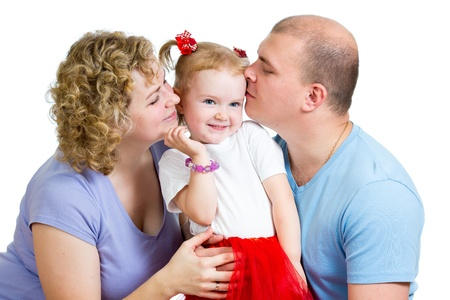 Happy parents kissing daughter girl isolated on white background Stock Photo - 17499554