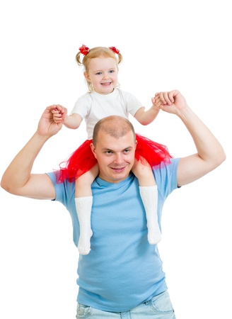 Happy father with daughter on his shoulders isolated on white background Stock Photo - 17499555