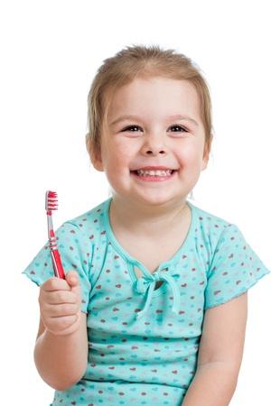 cute kid girl brushing teeth isolated on white background Stock Photo - 17605116