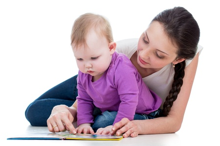 mother reading a book her baby girl Stock Photo - 17641819