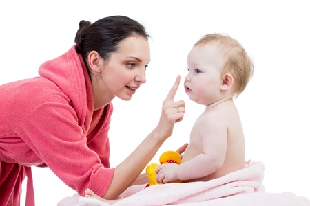 mother with baby after bathing Stock Photo - 17641826