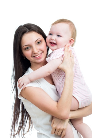 happy mother and her kid girl isolated on white backgrund Stock Photo - 17641829