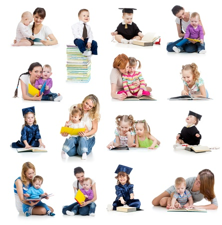 on lap: Collection of babies or kids reading a book. Concept of education from early childhood. Stock Photo