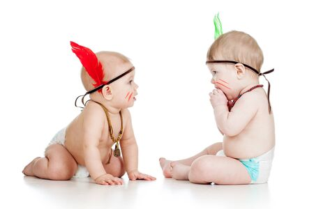 indian mask: Two funny little childs indians  Isolated on white background Stock Photo