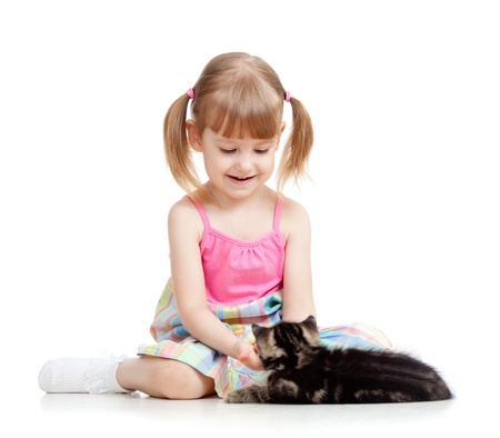 british pussy: kid girl playing with cat kitten