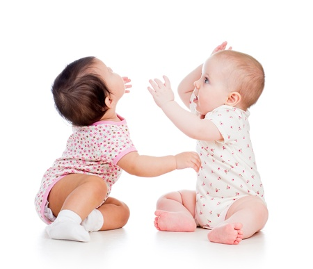 another: Funny babies girls playing together