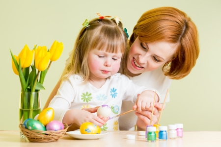 mother and daughter kid painting easter eggs Stock Photo - 17927421