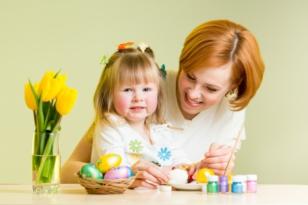 mother and daughter kid painting easter eggs Stock Photo - 17927420