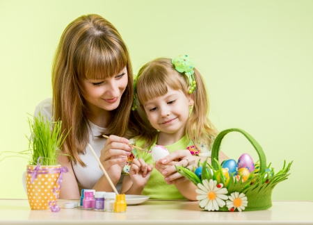 mother and daughter kid painting easter eggs photo
