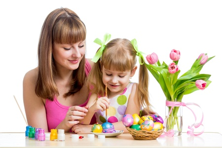 mother and baby kid painting easter eggs isolated Stock Photo - 18029300