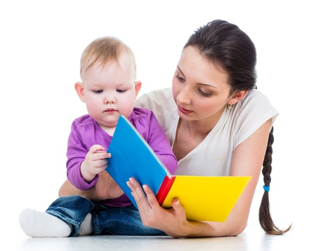 mother reading a book her baby girl Stock Photo - 18062289