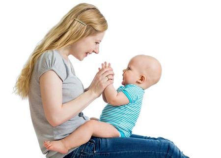 affectionate action: madre y el beb� lindo que se divierte