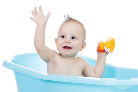 taking bath: baby kid taking bath and playing