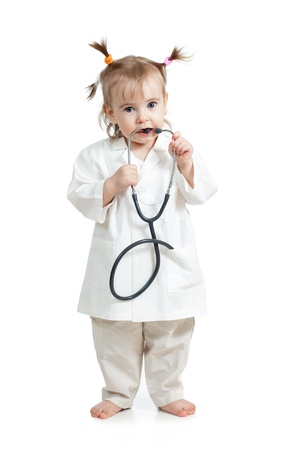 doctor s smock: Funny child girl with doctor clothes over white background