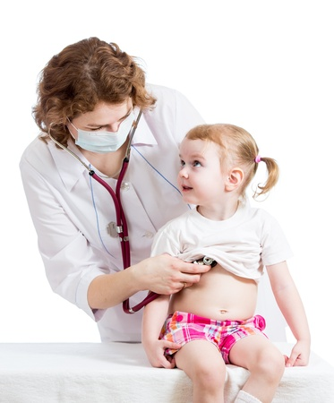 doctor examining kid girl isolated on white Stock Photo - 18231024
