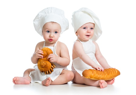 6 9 months: Little cook kids boy and girl