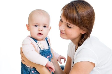 Loving mother playing with her baby on white background Stock Photo - 18424904