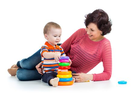 baby boy and mother playing together Stock Photo - 18498424