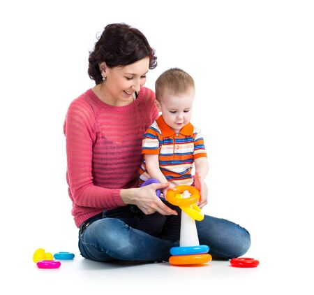 baby boy and mother playing together Stock Photo - 18498461