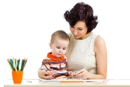 baby boy and mother drawing with colorful pencils Stock Photo - 18498464