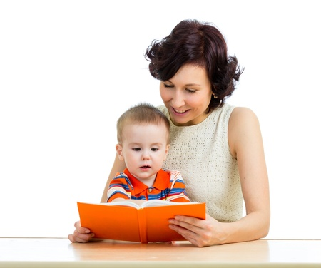 happy mother reading a book child photo
