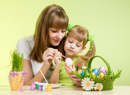 creative egg painting: mother and child girl paint easter eggs over green background