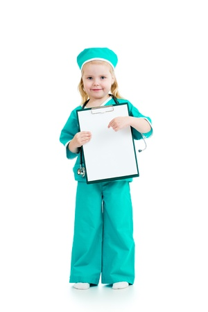 clipboard isolated: Adorable kid girl uniformed as doctor