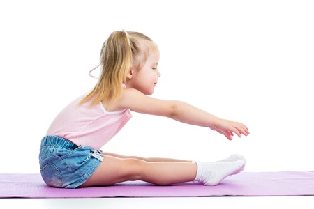 teen girls feet: Kid girl doing fitness exercises