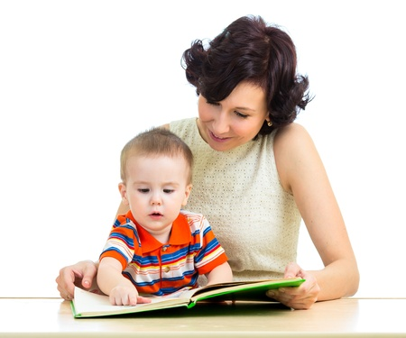 interested: mother reading book to kid
