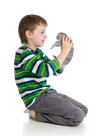 child boy with kitten isolated on white background photo