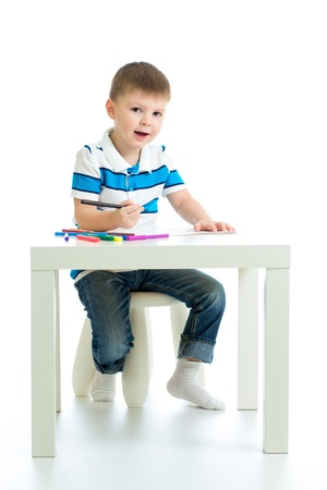 child boy drawing color felt pen photo