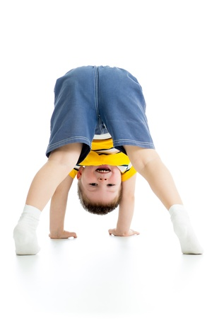 upside down: chid boy upside down
