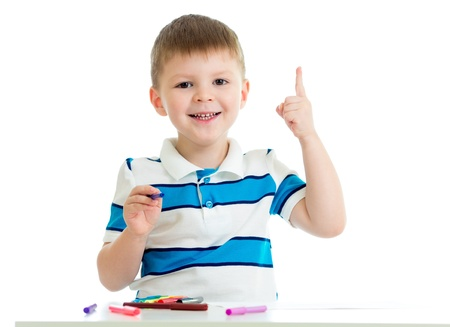 child boy drawing color felt pen Stock Photo - 18896017