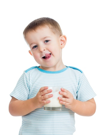 kefir: kid boy drinking yogurt or kefir isolated