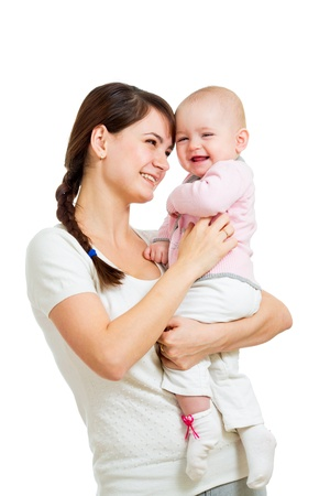 baby with mama: happy mother and baby girl