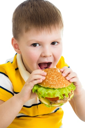 Child boy eating hamburger photo