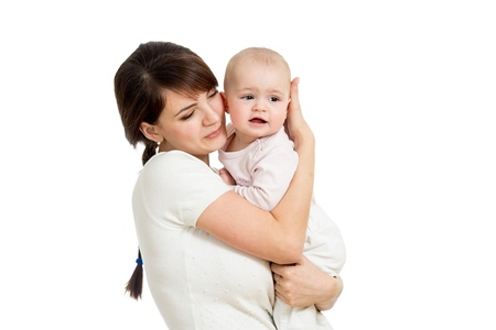 Mother hugging her baby isolated Stock Photo - 19202660