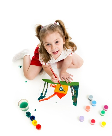 children painting: Cute kid drawing and painting  Top view Stock Photo