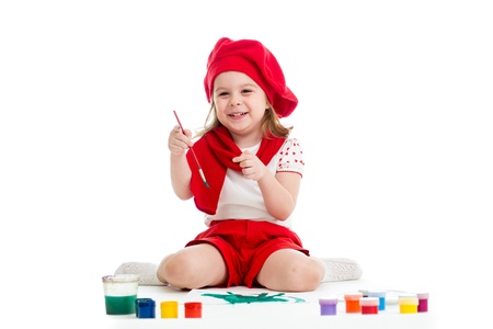 painting kid girl isolated on white photo