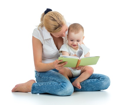 boy book: mother reading a book to her baby boy