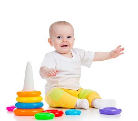 baby girl playing: baby girl with toy