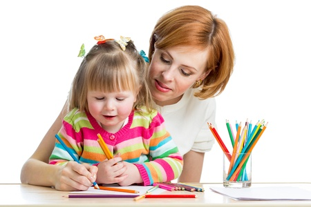 mother and daughter pencil together photo