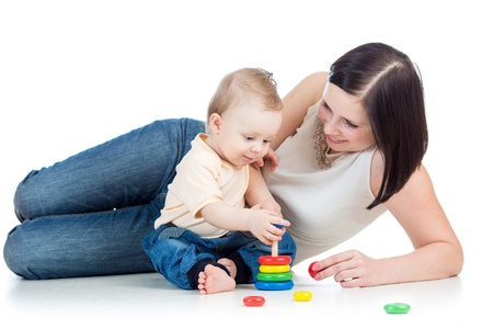 mother and baby play pyramid toy photo
