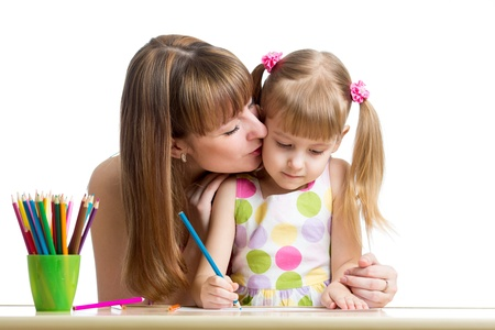 mother and her child girl draw together photo