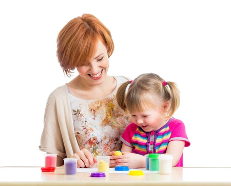 little dough: mother and daughter play with dough